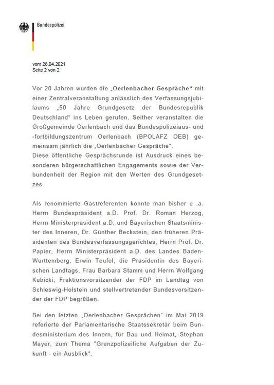 Oerlenbacher Gespräche 2021 abgesagt - Seite 2