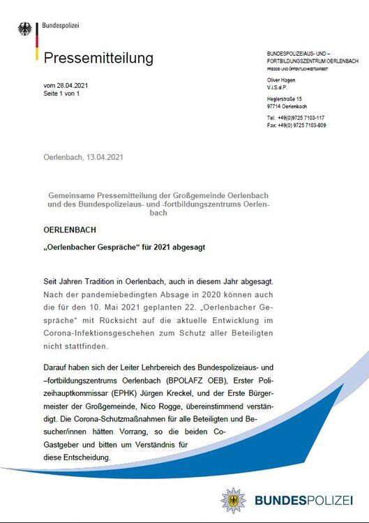 Oerlenbacher Gespräche 2021 abgesagt - Seite 1